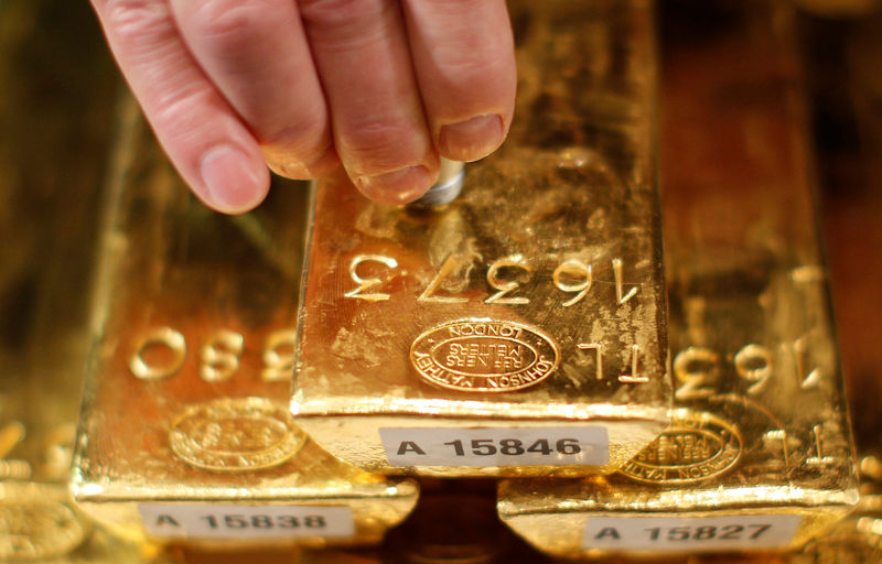 © Reuters.  PRECIOUS-Gold slips as share markets gain ahead of Fed meeting